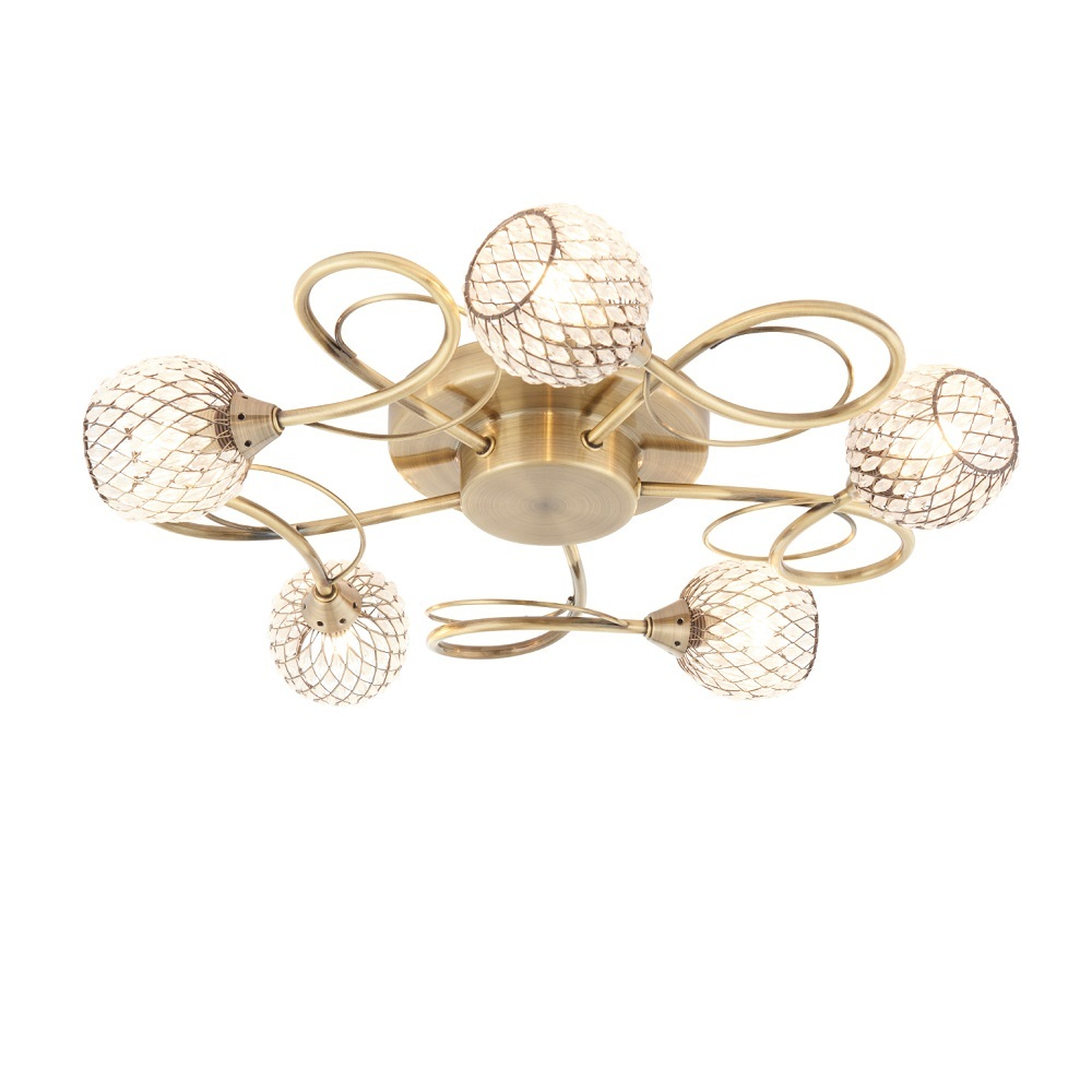 Aherne 5 Light Semi Flush Antique Brass