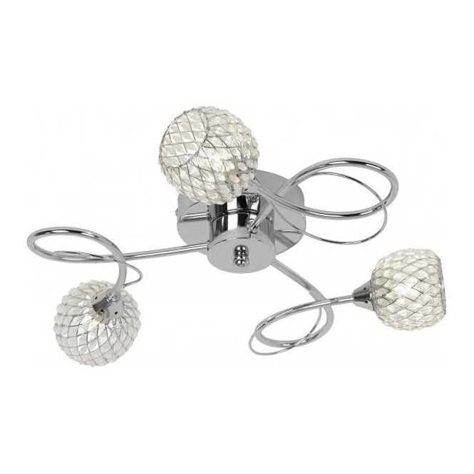 Aherne 3 Light Semi Flush Chrome