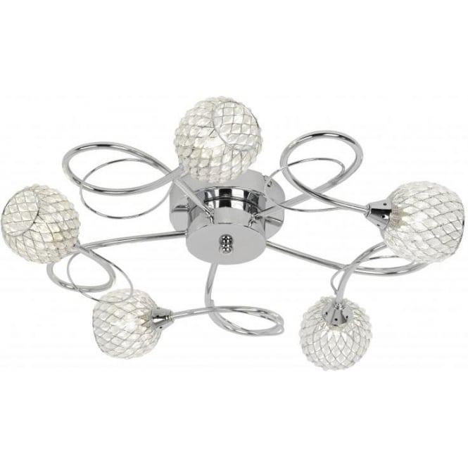 Aherne 5 Light Semi Flush Chrome